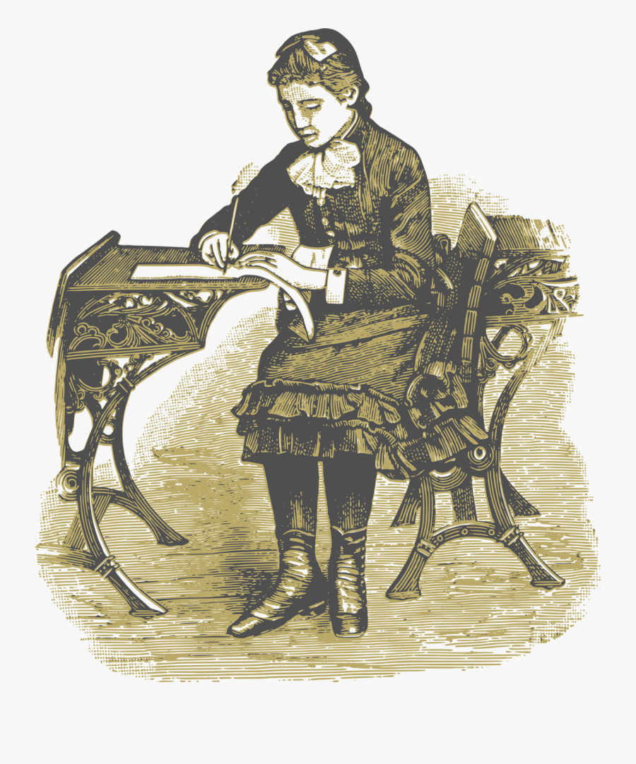 Girl Vintage School Free Picture - Victorian School Girl Drawing, Transparent Clipart