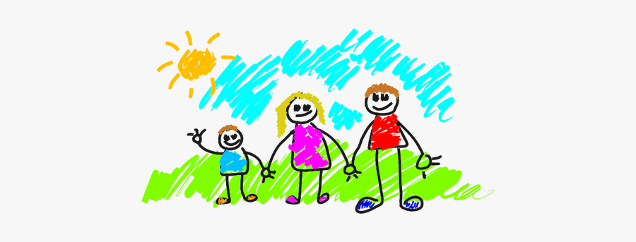 Simple Drawing Of A Family - Family Kids Drawing Png, Transparent Clipart