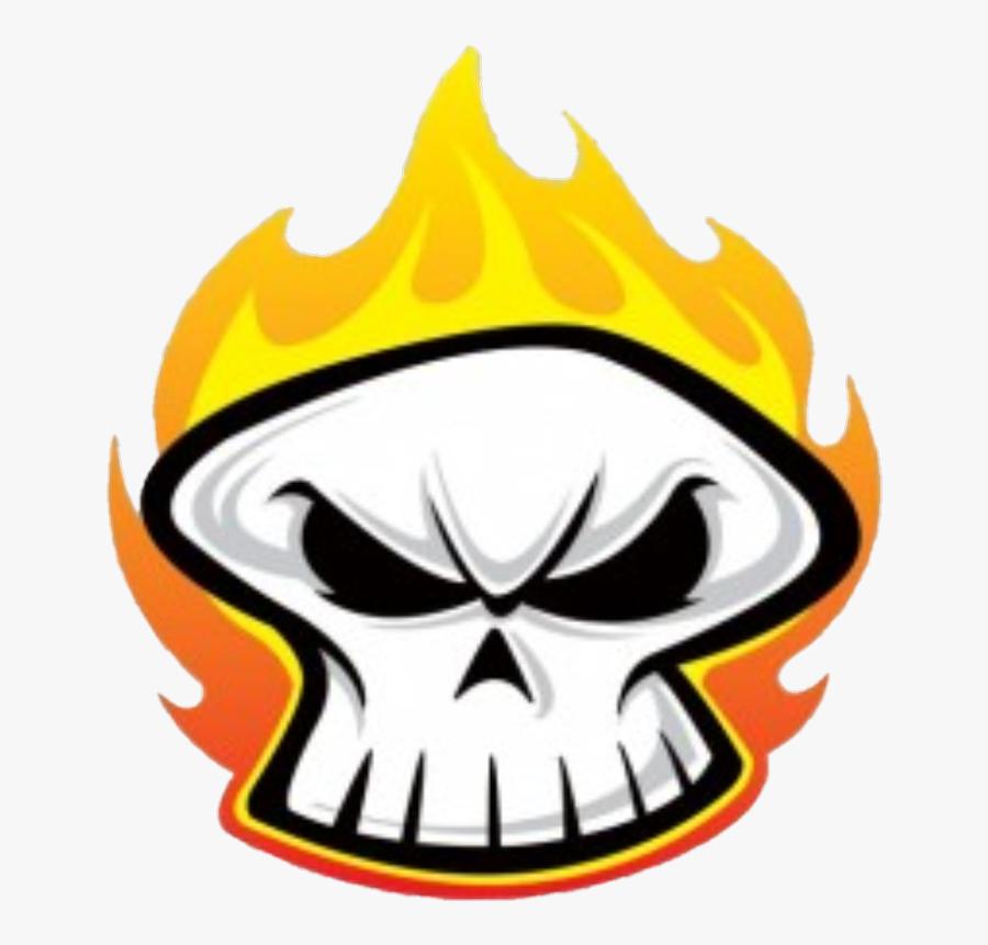 Transparent Flaming Skull Clipart - Skull Flame Cartoon Png, Transparent Clipart