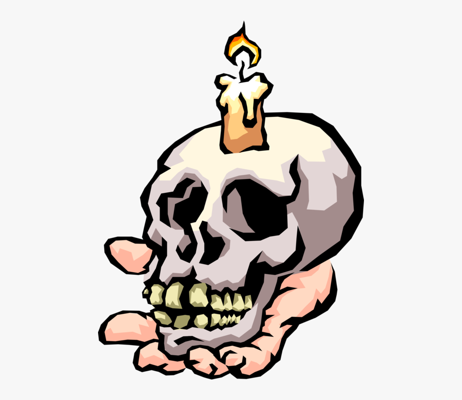 Vector Illustration Of Human Skull Held In Hand With - Gas Can Kill You, Transparent Clipart