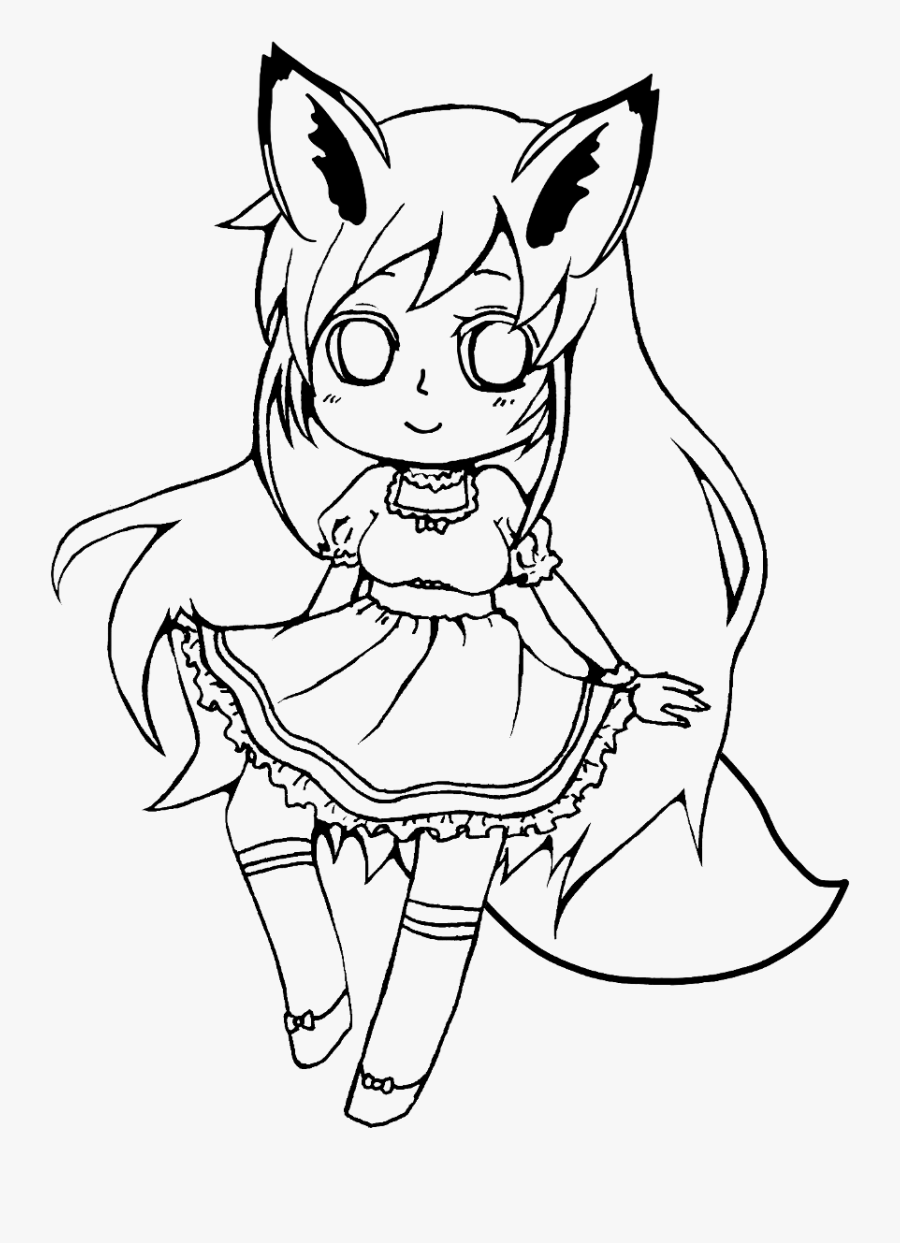 #girl #fox #outline #draw #line #art #freetoedit #anime - Anime Girl Drawing Outline, Transparent Clipart