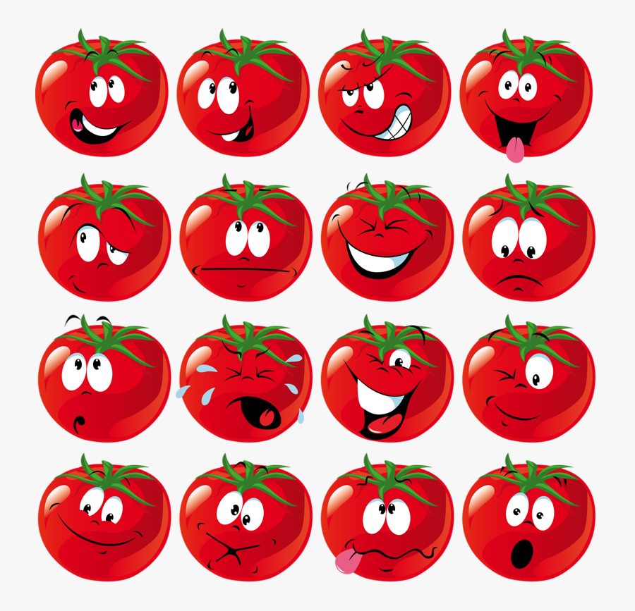 Cartoon Tomato Slice With Face, Transparent Clipart