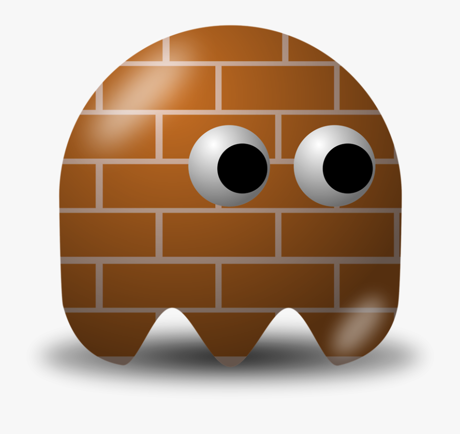 Brown Pac Man Ghost, Transparent Clipart