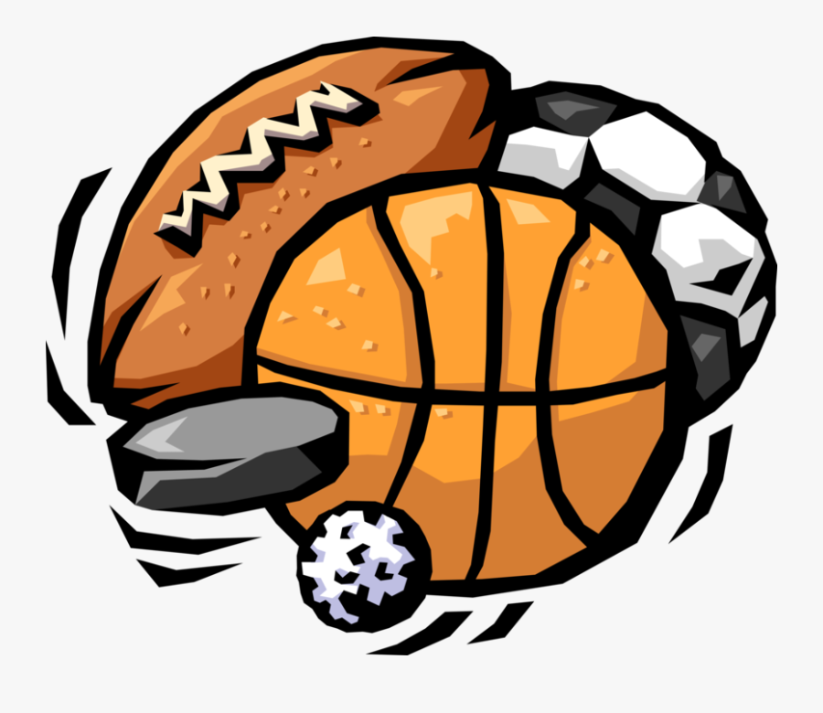 Vector Illustration Of Sports Balls With Football, - Sports Cartoon, Transparent Clipart