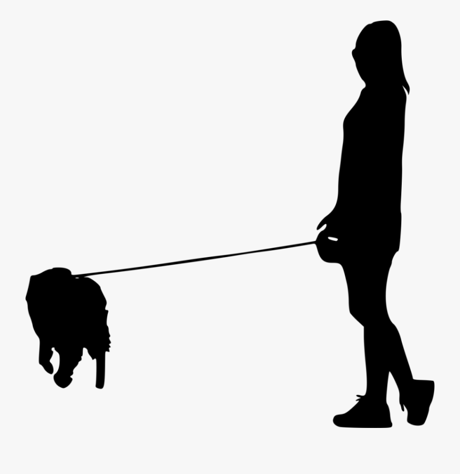 Dog Walking Pet Sitting Silhouette - Man With Dog Silhouette Png, Transparent Clipart