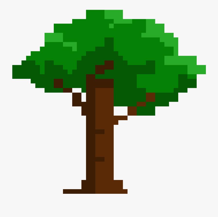 Pixel Art Apple Tree - Easy Pixel Art Tree, Transparent Clipart