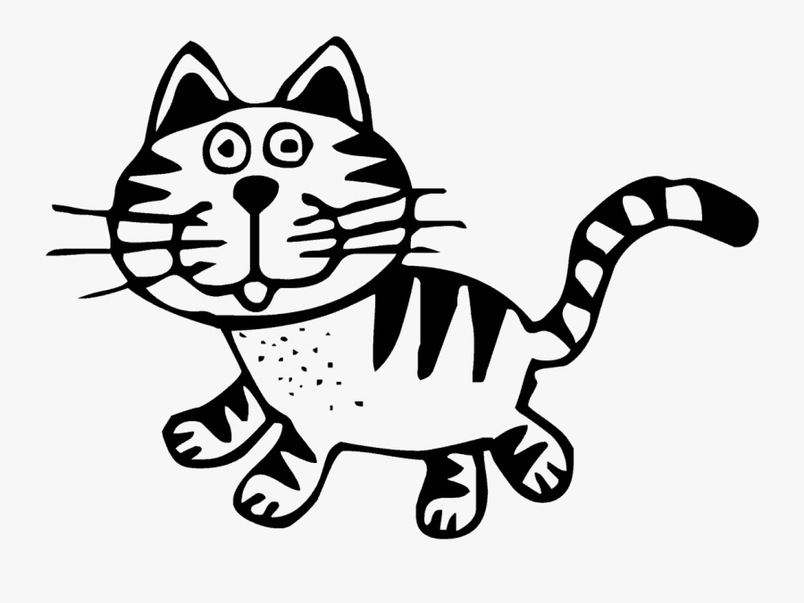 Transparent, Art, Cat, Animal, Black, White, Drawing, - Yellow Cartoon Cat, Transparent Clipart
