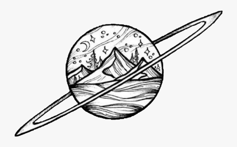 Planet Mountain Winter Ring Draw Freetoedit Scplanetstickers - Line Art, Transparent Clipart