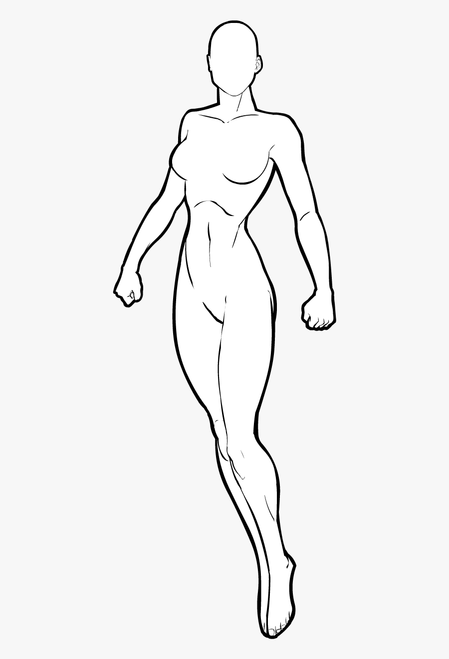 Clip Art Female Superhero Template B - Female Superhero Girl Superhero Template, Transparent Clipart
