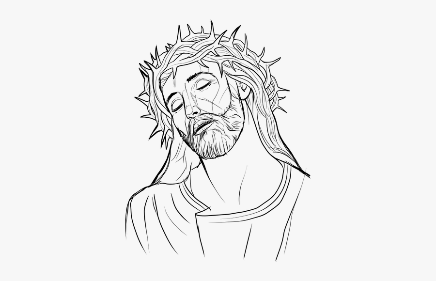 Jesus Christ Outline Illustration - Crowning With Thorns Drawing, Transparent Clipart
