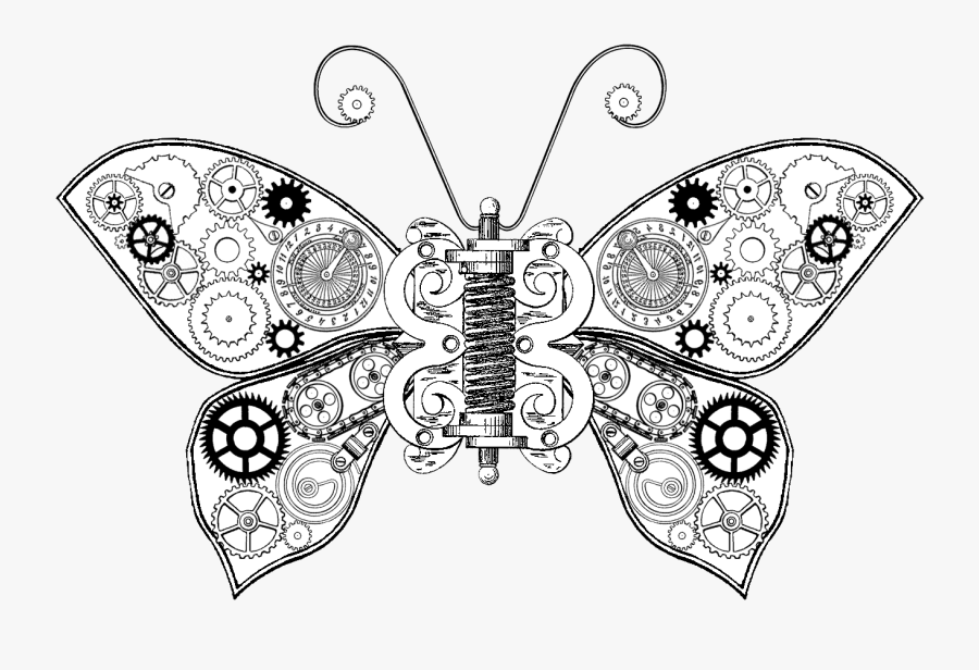 Steampunk Butterfly Drawing, Transparent Clipart