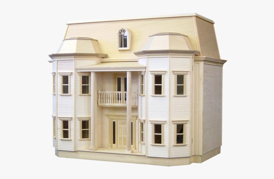 Clip Art Miniature Wooden Houses - Unfinished Dollhouse, Transparent Clipart