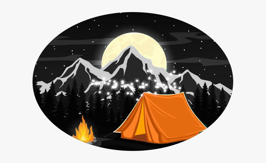 #camping #tent #moon #fire - Tent Camping Art, Transparent Clipart