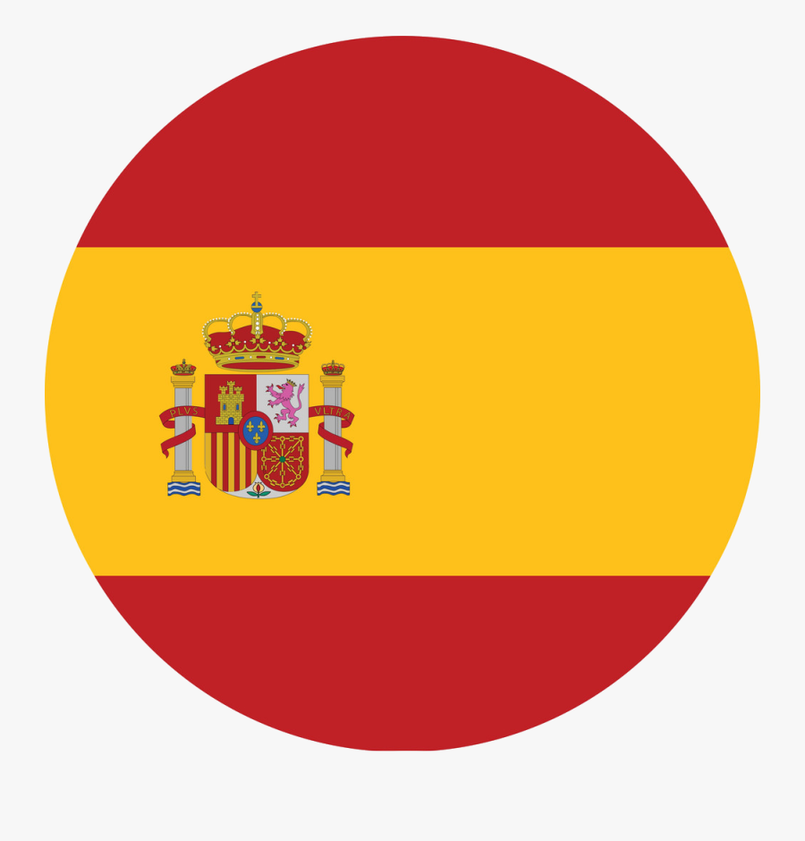 A Drawing Of A Cartoon Character - Spain Flag Vector Round, Transparent Clipart