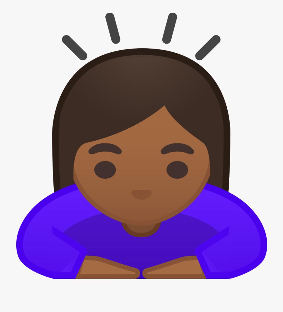 Woman Bowing Medium Dark Skin Tone Icon - Woman Bowing Emoticon, Transparent Clipart