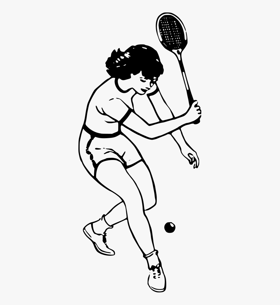 Tennis Player Svg Clip Arts - Drawing Of People Playing Badminton, Transparent Clipart