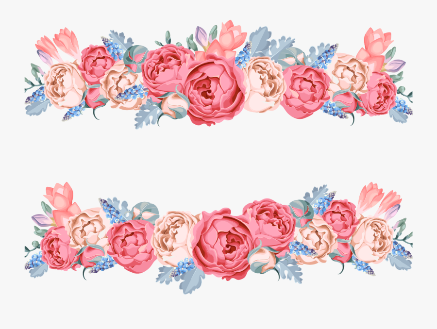 Clip Art Flower Floral Design Vector - Blue And Pink Flower Design, Transparent Clipart