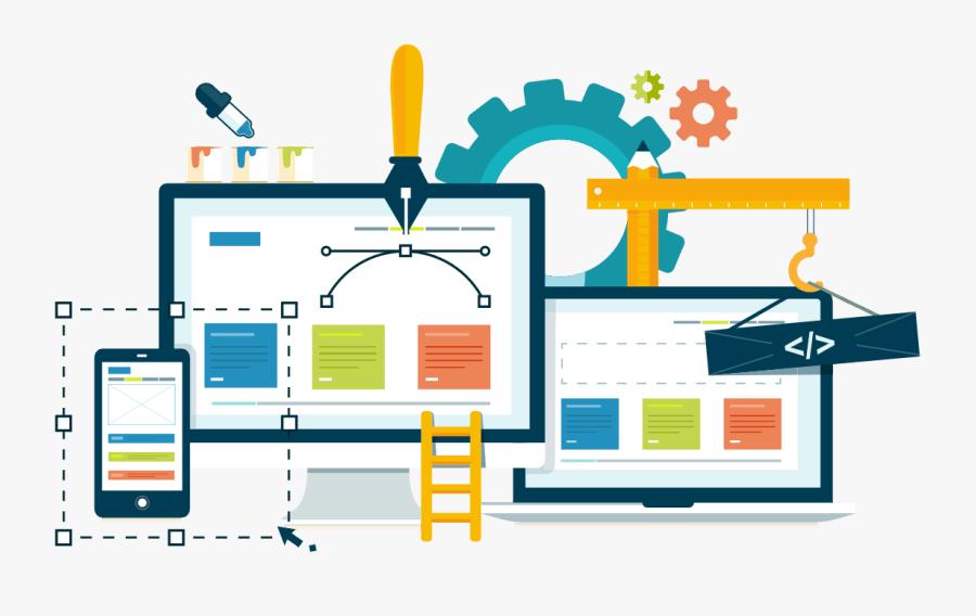 Illustration Of A Website Being Built - Creative Web Design Banner, Transparent Clipart