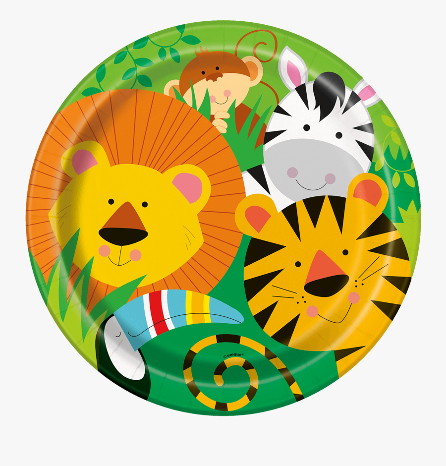 A Photo Of A Paper Plate With Cartoon Characters Jungle - Jungle Birthday Plates, Transparent Clipart