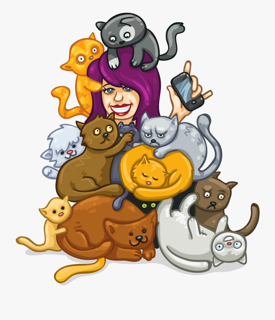 Crazy Cat Lady Clipart, Transparent Clipart