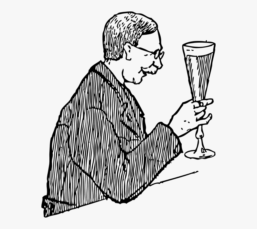 Lager, Glass, Old, Man, Drinking, Holding, Drink - Drawing Of A Man Drinking, Transparent Clipart