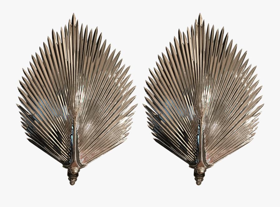M#century Modern Tommaso Barbi Style Palm Frond Sconces - Slippery Elm, Transparent Clipart
