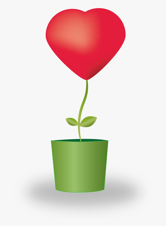Heart Flower Potted Plants Free Picture - Vaso De Flor Coração Png, Transparent Clipart