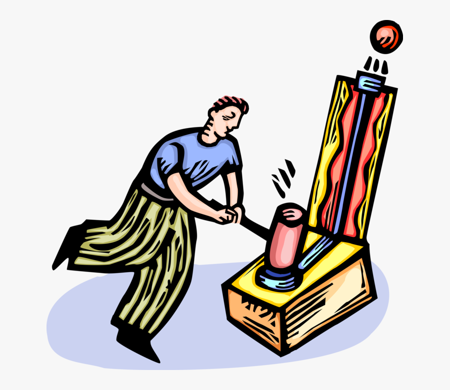 Vector Illustration Of Strongman Plays Strength Tester - Carnival Games Vector, Transparent Clipart