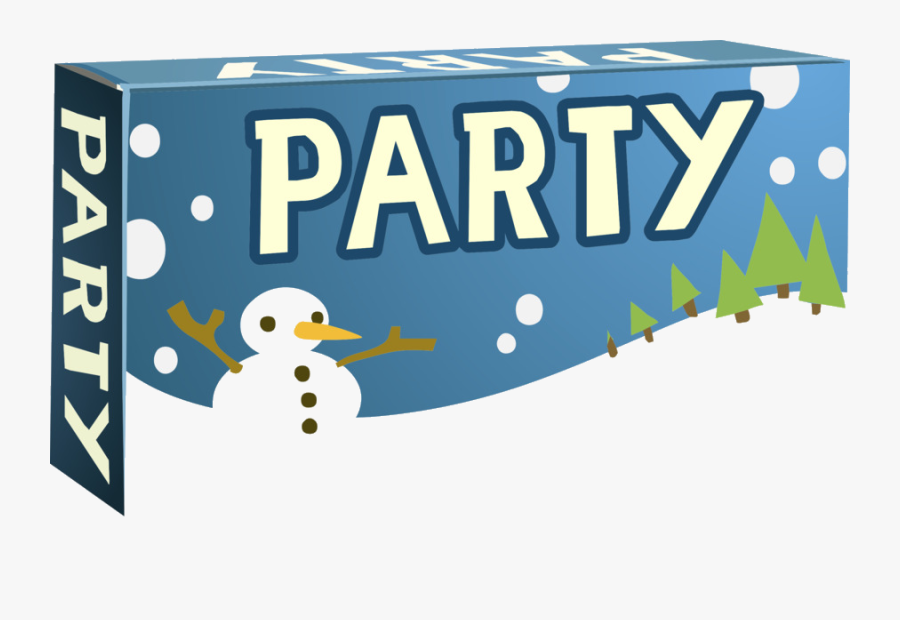 Winter Party Banner Clipart Blue Text Product Transparent - Winter Party Clipart, Transparent Clipart