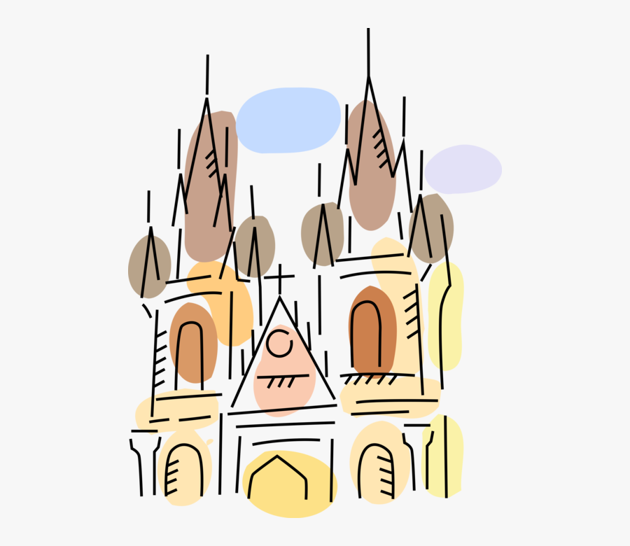 Vector Illustration Of Christian Church Cathedral House, Transparent Clipart