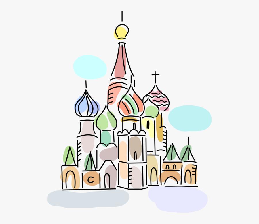 "Vector Illustration Of St Basil""s Christian Church - Illustration, Transparent Clipart"