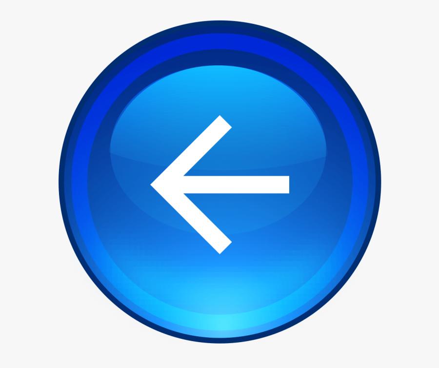 Blue,cobalt Blue,electric Icon,clip Art,trademark,symbol - Left Arrow Button Png, Transparent Clipart