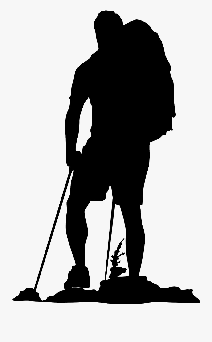 Clip Art Hiking Backpacking Vector Graphics Silhouette - Hiking Silhouette, Transparent Clipart