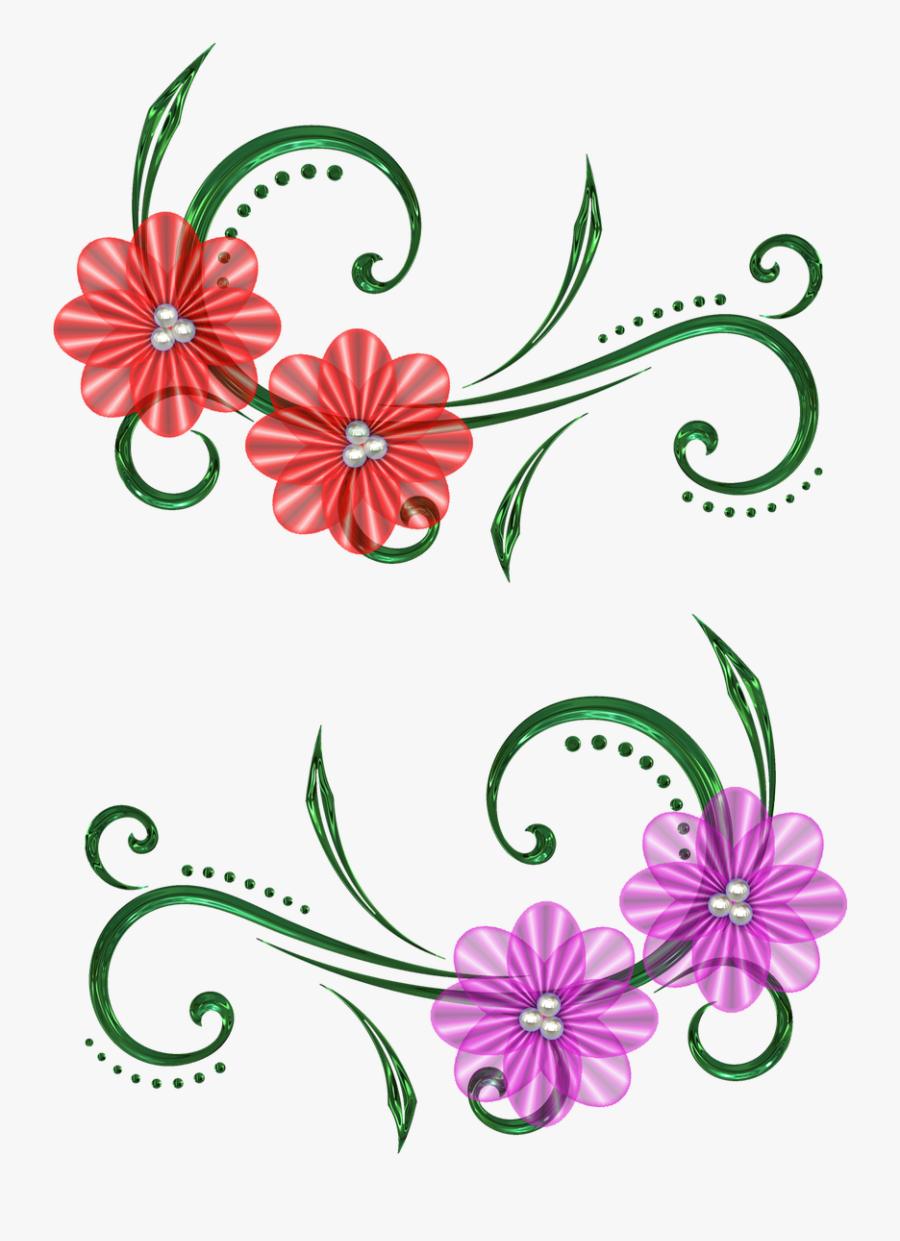 Flower Pearls Design Free Picture - Flower Design In Scrapbook, Transparent Clipart