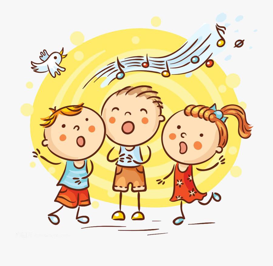 Singing Cartoon Song Illustration - Children Singing Cartoon, Transparent Clipart