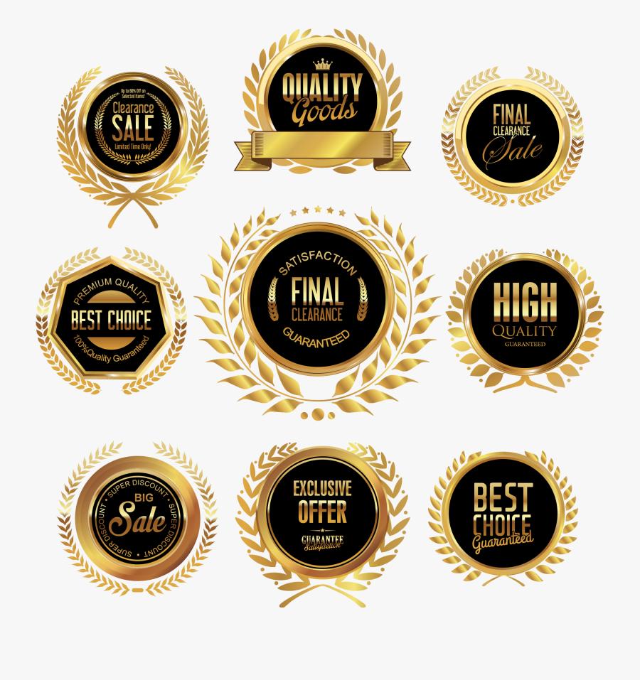 Golden Badge Png Image Transparent Background - Png Gold Badge Vector, Transparent Clipart