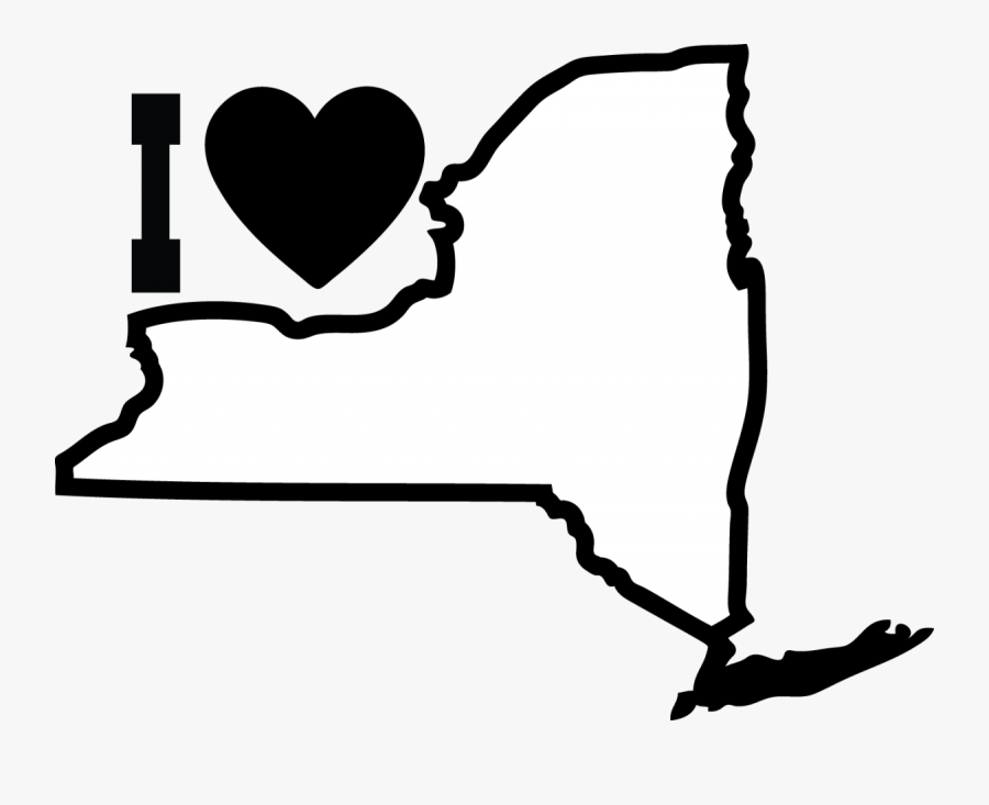 State Of New York Map Outline - New York City State Outline, Transparent Clipart