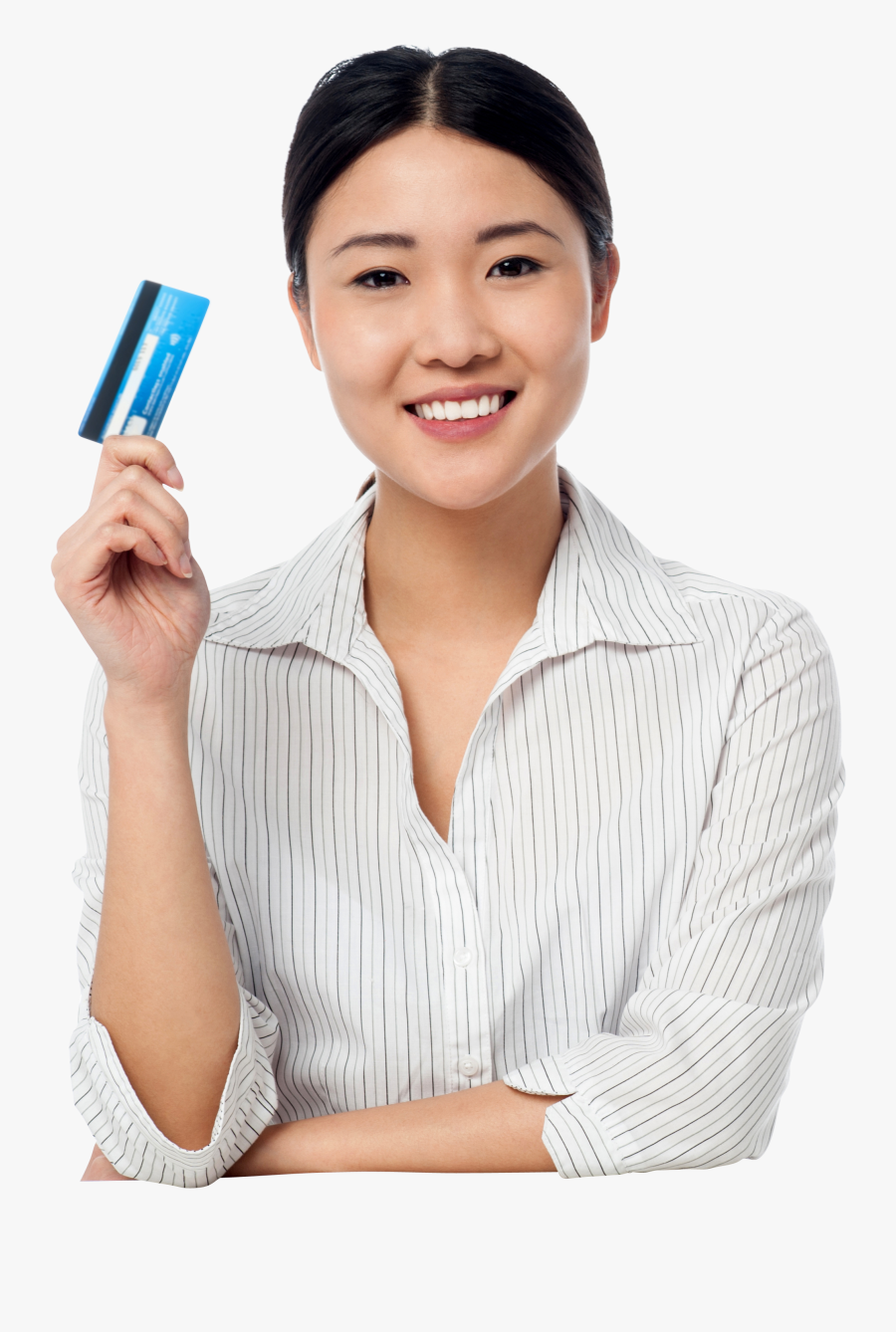 Transparent Girl Wondering Clipart - Lady Holding Atm Png, Transparent Clipart