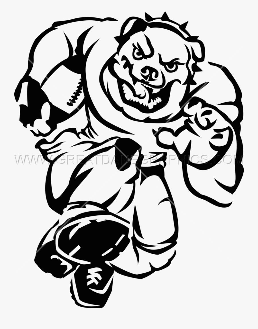 Bulldog Football Charge - Gambar Hitam Putih Keren Bulldog, Transparent Clipart