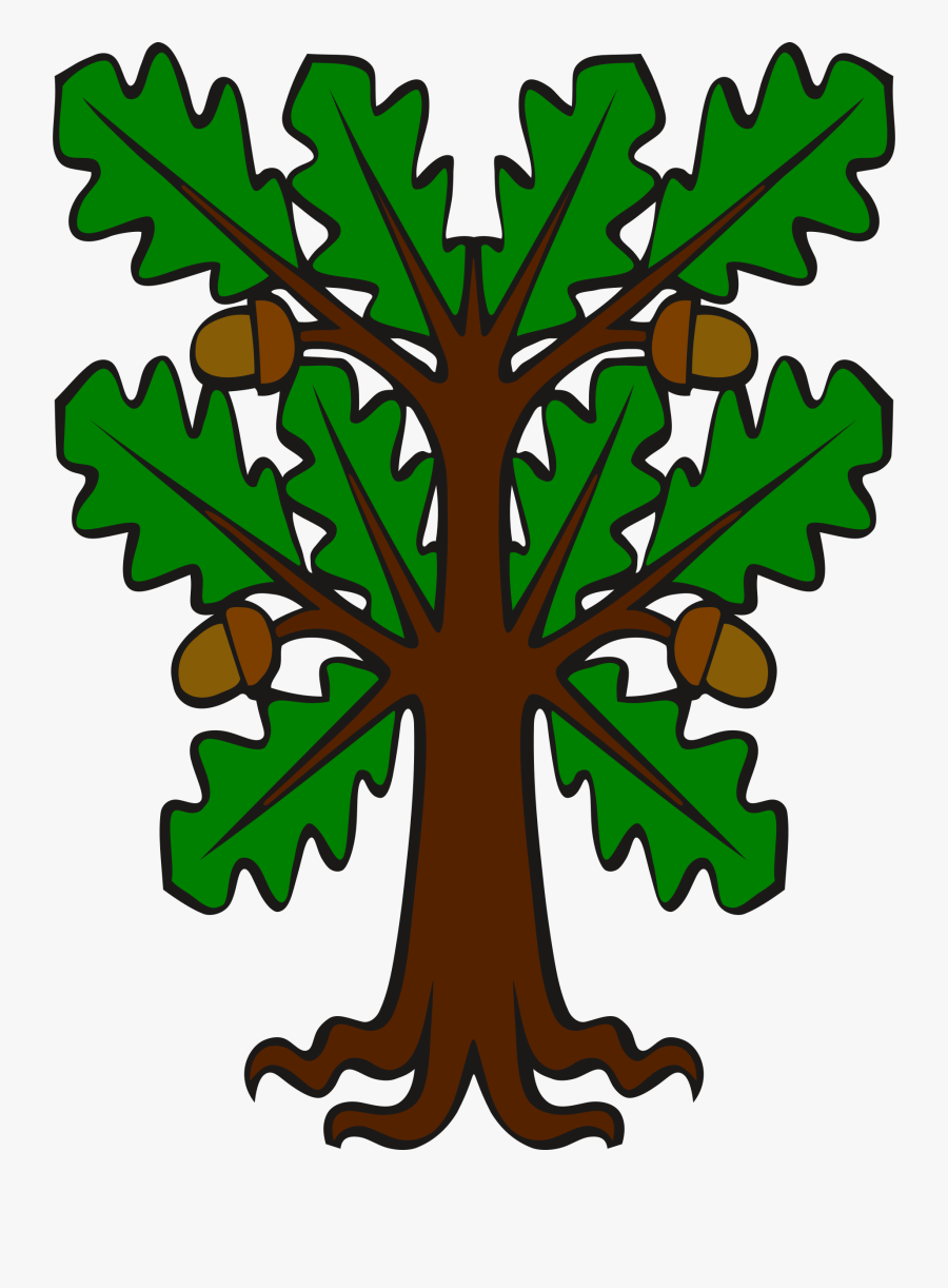 Clipart - Stylised Oak - Oak Tree Clipart Acorn, Transparent Clipart