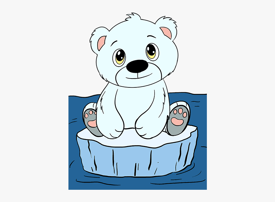 Clip Art How To Draw A - Polar Bear Cub Cartoon, Transparent Clipart