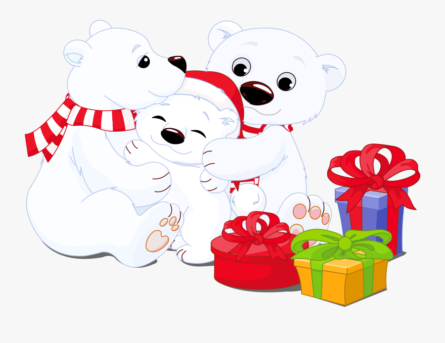 Transparent Polar Bears With Gifts Png Clipart - Polar Bears Christmas Clipart, Transparent Clipart
