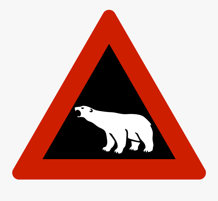 Polar Bear Warning Sign, Transparent Clipart