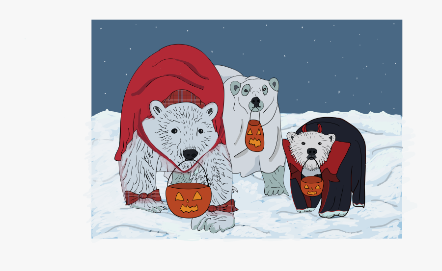 Halloween Polar Bear, Transparent Clipart
