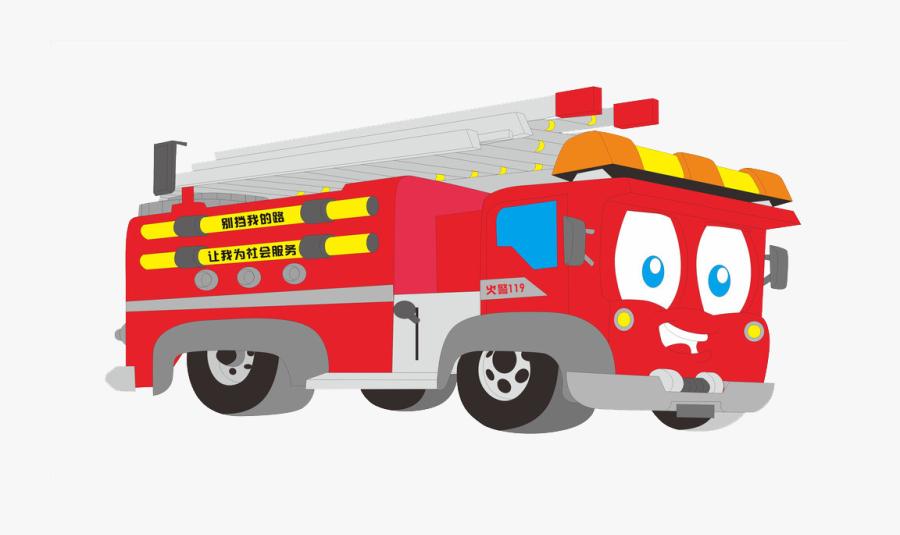 Clip Art Fire Truck Cartoon - Animado Imagen De Un Carro De Bomberos, Transparent Clipart