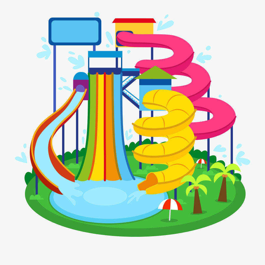 Wedding Park Water Birthday Invitation Party Clipart - Water Park Rides Cartoon, Transparent Clipart