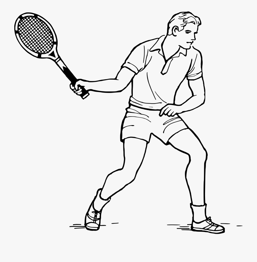 Tennis Player - Tennis Player Tennis Clipart Black And White, Transparent Clipart