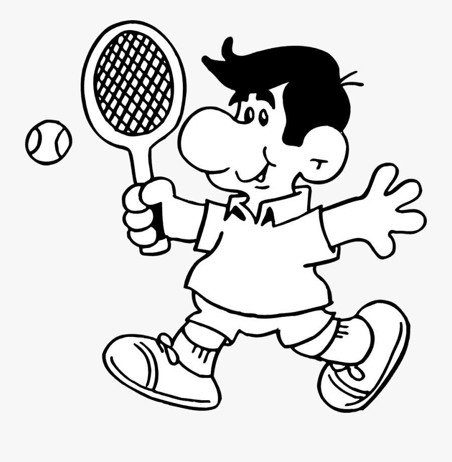 Tennis Clipart Outline - Tennis Ball Tennis Player Tennis Cartoon Black, Transparent Clipart