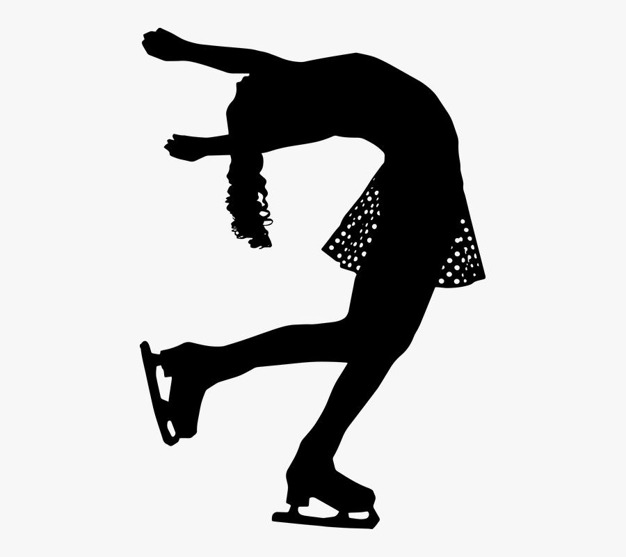 Figure Skating Free Skating Woman Skater - Ice Skating Clipart Black And White, Transparent Clipart