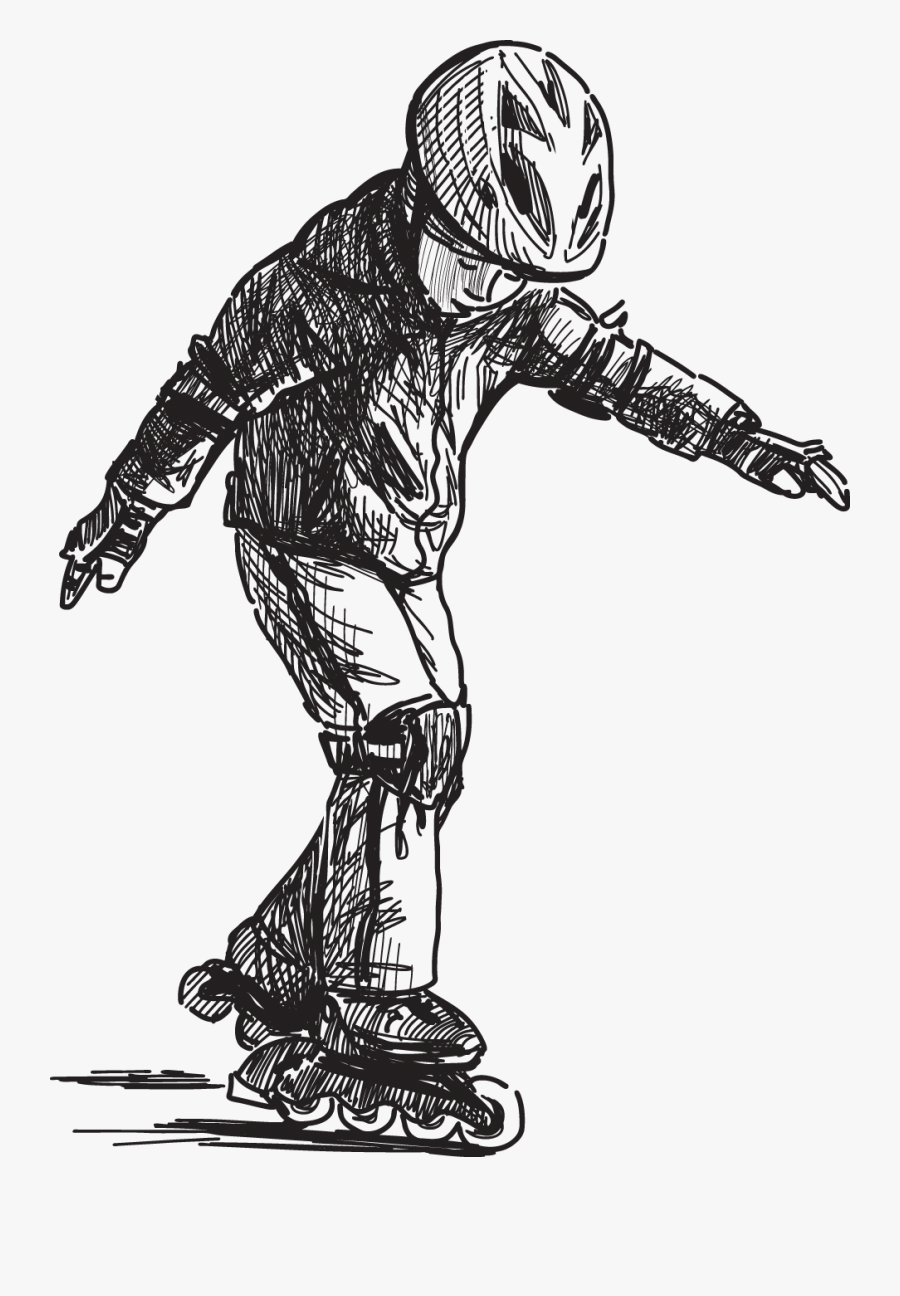 Roller Skating Boys Drawing, Transparent Clipart